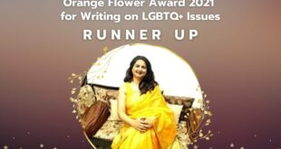 Runner's up at the Orange flower awards 2021 – writing on LGBTQ+ issues