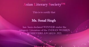 Woman achiever in literature for 2021 by Asian Literary Society