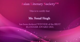 Best blogger 2021 award by Asian Literary Society